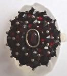 Ring with Czech garnets - flower