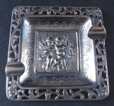 Small silver ashtray with figures