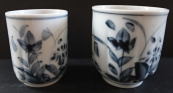 Larger and smaller porcelain cup for sake