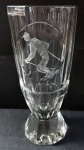 Glass cup, engraved with a skier