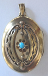 Gold medallion with turquoise - Biedermeier