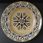 Ceramic beige plate, with ornament