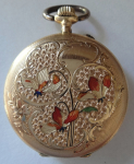 Golden ladies pocket watch, with enamel - Saphir