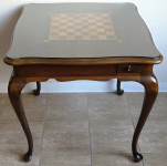 Chess inlay table, with four drawers