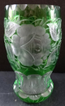 Cut green glass with roses