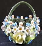Porcelain basket with flowers