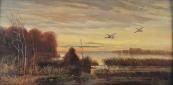 Franz Schilhabl - Flying ducks, over reeds