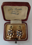 Gold earrings, with enamels - Biedermeier