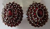 Silver round earrings - czech garnet