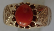 Solid Gold ring with red coral