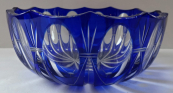 Cobalt bowl with oval facets