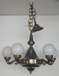 Chandelier, made of patinated metal and brass