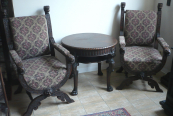 Neo-Renaissance chairs with a table
