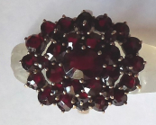 Ring with Czech garnets, in basic metal
