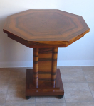 Table with octagonal plate, walnut veneer