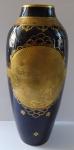 Cobalt vase with gold medallion