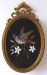 Bronze frame with bird - Pietra dura