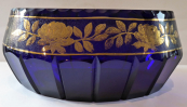 Cobalt bowl with gilded roses