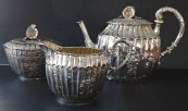 Teapot with small pot and sugar bowl, silver  - Schleissner, Hanau