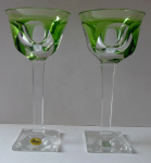 A pair of glasses on square stems and bases, green - Moser