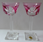 A couple of glasses on square base and stem, pink  - Moser