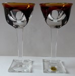 A couple of glasses on square base and stem, brown - Moser