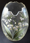 Glass vase, egg, with lily of the valley
