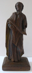 Wooden small statue of a man in a cloak