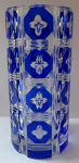 Cut vase with blue medallions