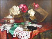 Franz Krischke - Still life with roses, lace and jewerly box