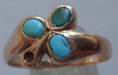 Golden Ring with Shamrock and Turquoise - Vienna