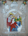 Reverse mirror-glass painting - Coronation of the Virgin Mary