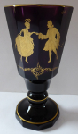 Goblet made of amethyst glass and gilded figures