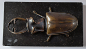 Bronze statue of beetle, on pedestal, with box