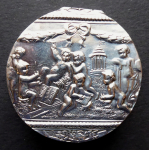 Silver round figural box - J. D.  Schleissner, Hanau