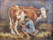 Josef Hlavacek - Woman in milking a cow