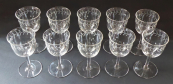 Ten glasses with a cut Art Nouveau ornament