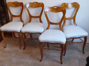 Four chairs, biedermeier, cherry, with carving