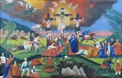 Calvary - naive folk painting