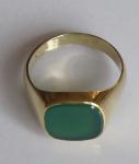 Golden ring, square chrysoprase
