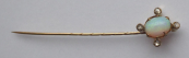Golden tie pin with opal and diamonds - Prague 1880