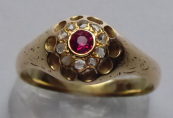 Gold ring with ruby and diamonds, flower - Prague 1890 - 1920