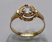 Golden ring with spiral and sapphire
