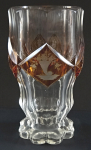 Biedermeier glass (goblet) with yellow medallions and emblems