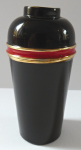 Travel cups in brass, black and red