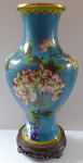 Cloisonné vase, with flowers - wooden pedestal