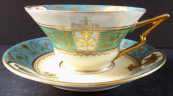 Light blue and gilt coffee cup - Art deco