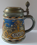 Ceramic tankard, tin lid, with Berlin motive  - Mettlach, Villeroy & Boch