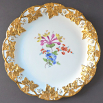 Meissen plate with golden leaves and flowers