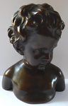The bust of a boy with curly hair, a bronze patina